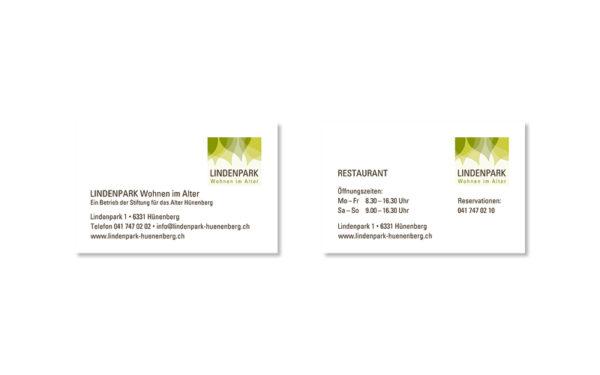 Webfotografik - Lindenpark Huenenberg - Visitenkarten